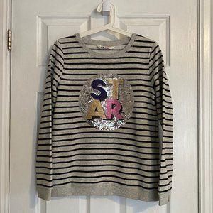 H&M Kids Grey Striped Sequin Star Sweatshirt